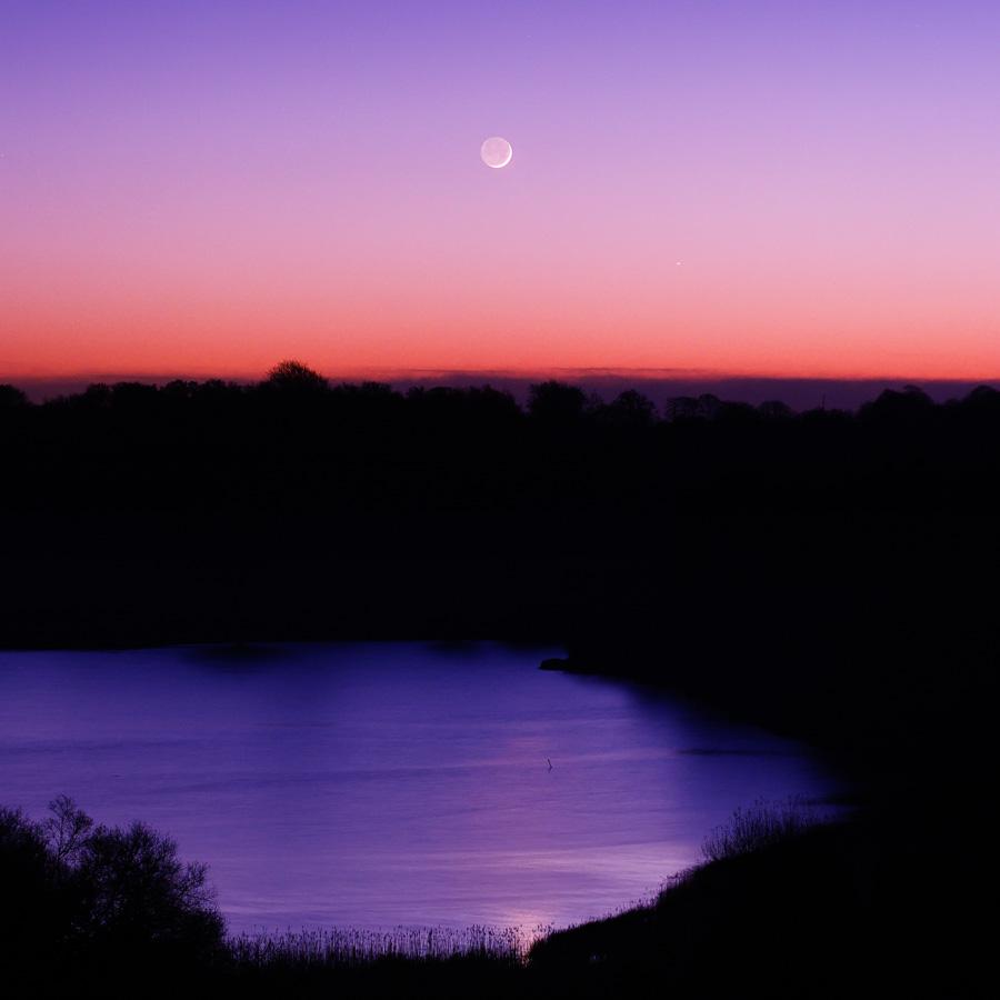 Quimper : Conjonction Lune-Jupiter sur l'Odet