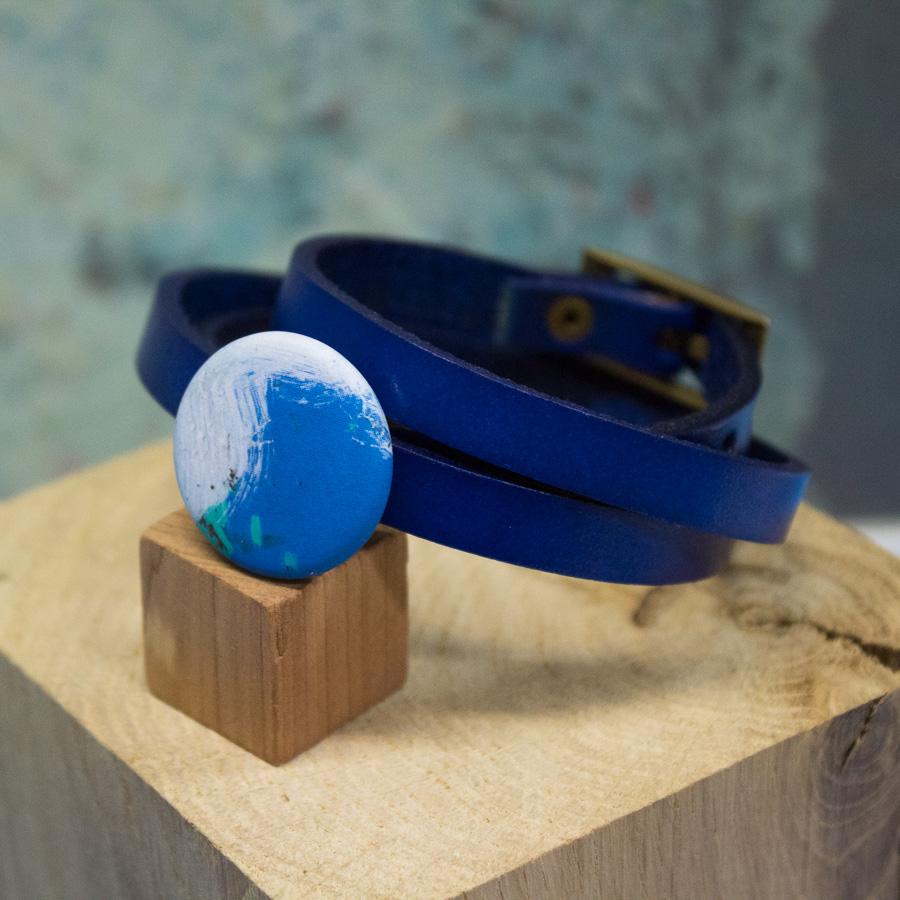 Bracelet ceinture 3 tours bleu