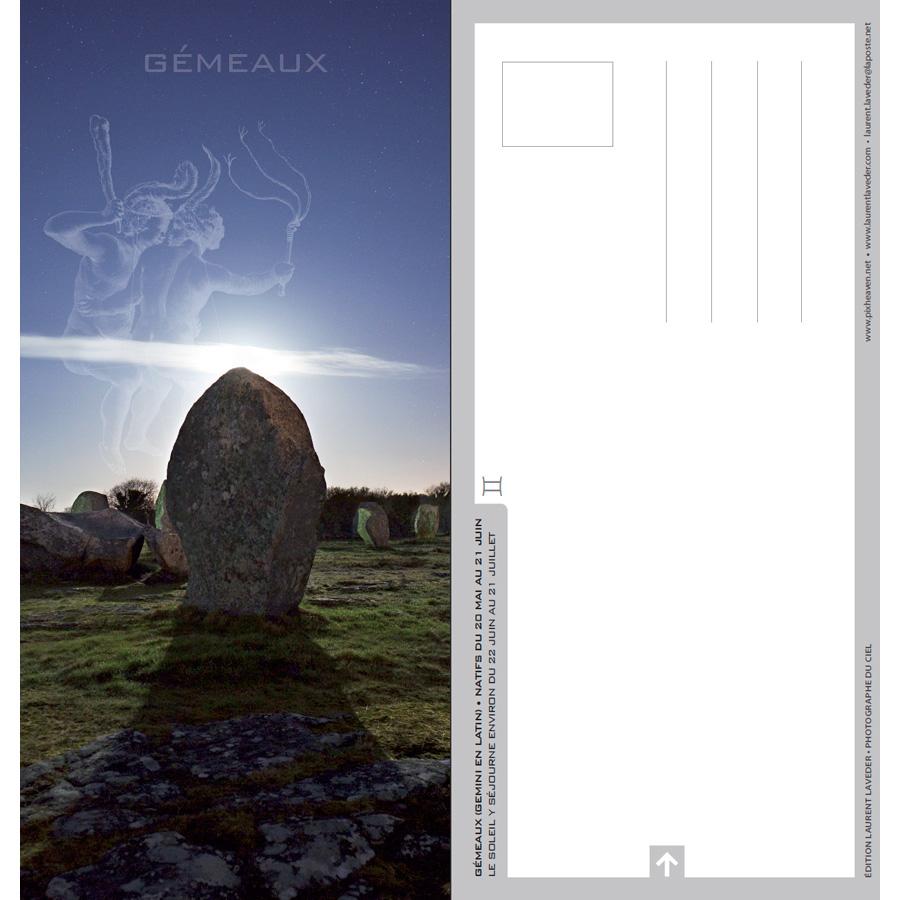 """Carte postale """"Constellation du zodiaque : les Gémeaux"""""""