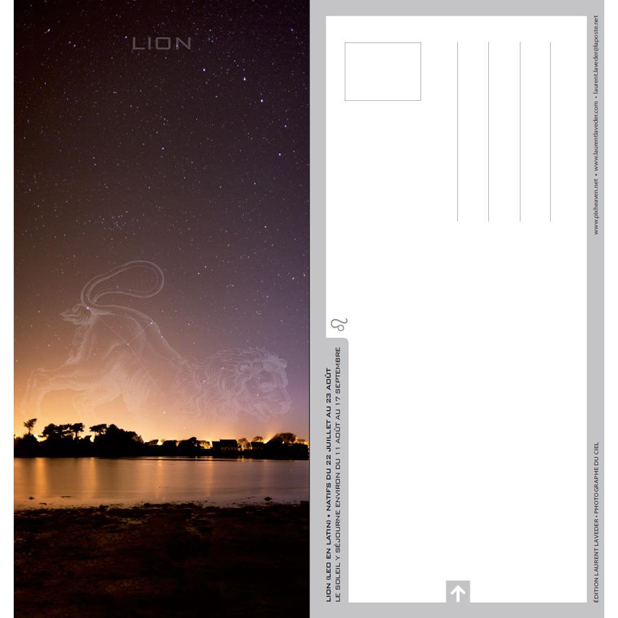 """Carte postale """"Constellation du zodiaque : le Lion"""""""