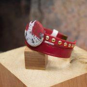 Bracelet cuir 2 cordons plats rouge et rouge cloutés or, fermoir aimanté