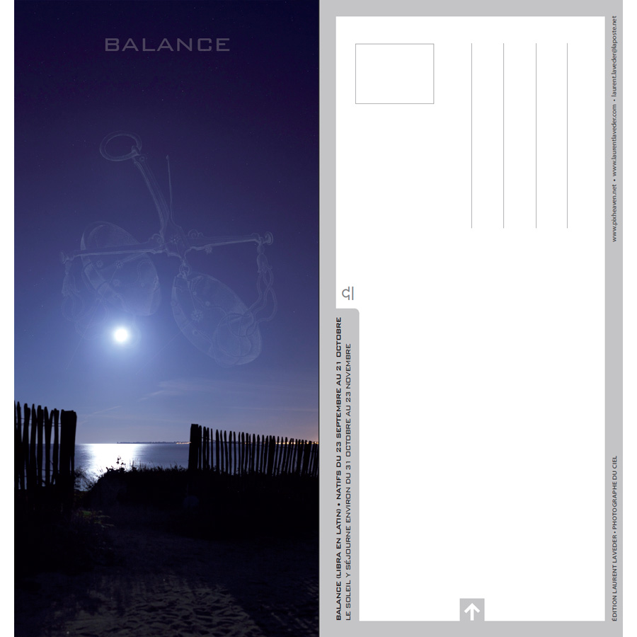 "Carte postale ""Constellation du zodiaque : la Balance"""