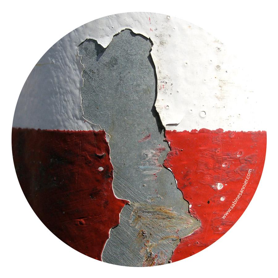 """Miroir de poche """"Écaille blanc et rouge"""""""