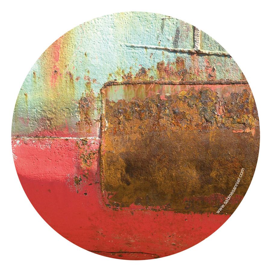 """Miroir de poche """"Turquoise et rouge"""""""