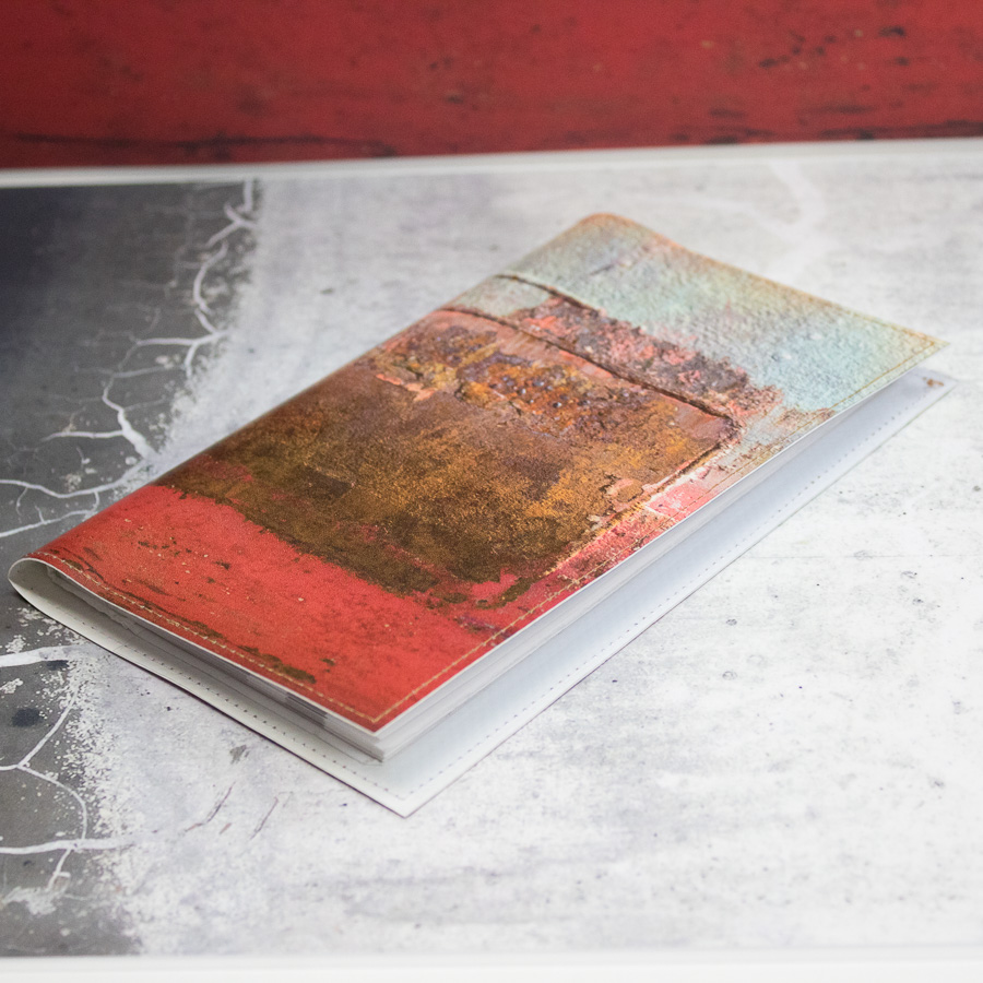 "Porte-chéquier ""Mur orange et turquoise"""