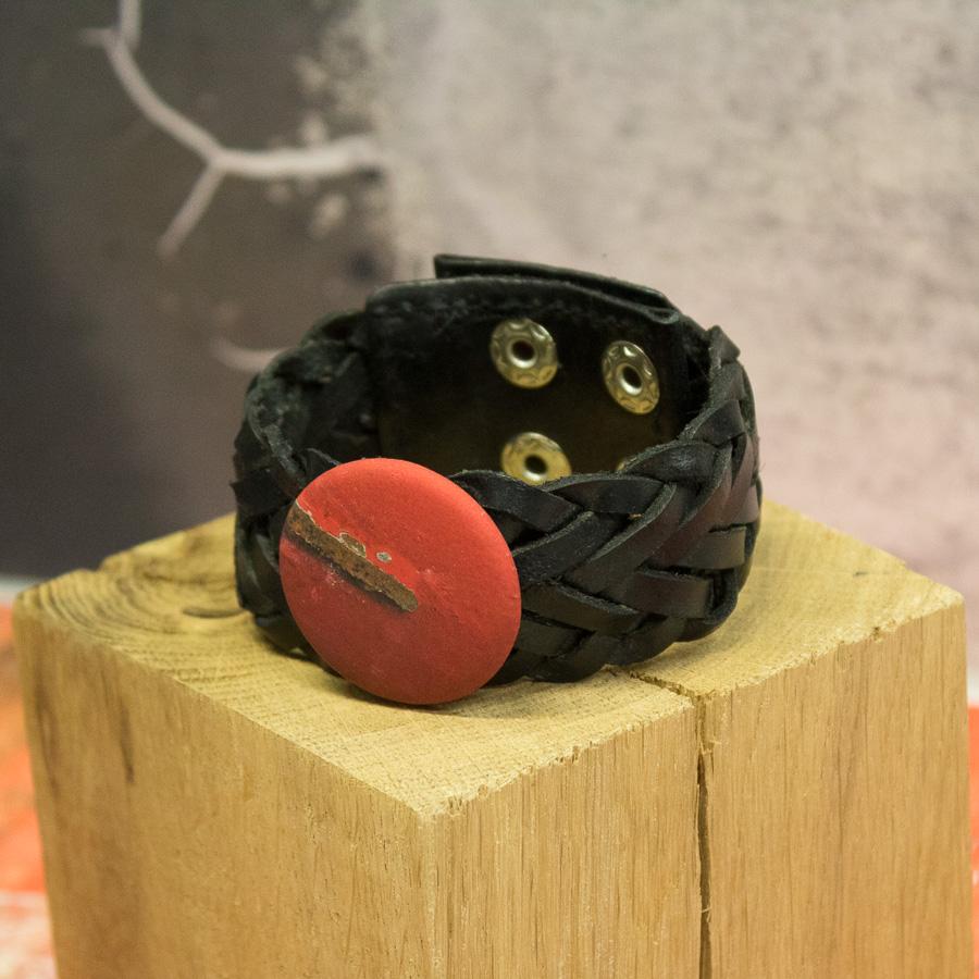 Bracelet cuir noir tressé