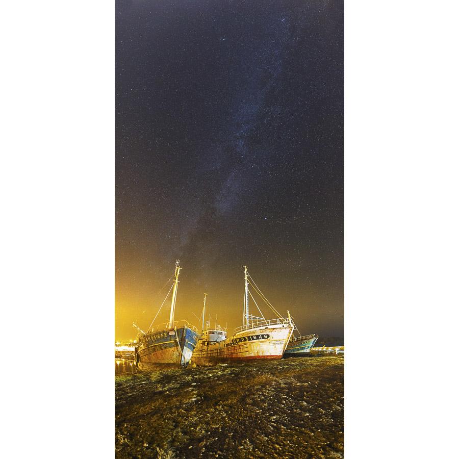 Camaret-sur-Mer : Voie lactée sur les bateaux