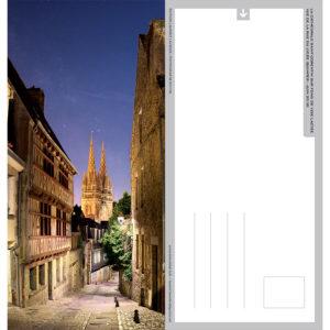 """Carte postale """"La rue du Lycée de nuit à Quimper"""""""
