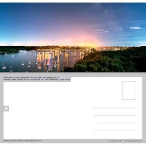 """Carte postale """"Bénodet et Sainte-Marine de nuit depuis le pont de Cornouaille"""""""