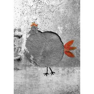 """Photo à encadrer Brèves de rue """"Une poule sur un mur"""""""