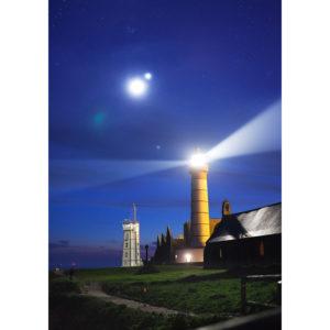 """Photo A4 à encadrer """"Pointe Saint-Mathieu : la Lune et le phare"""""""