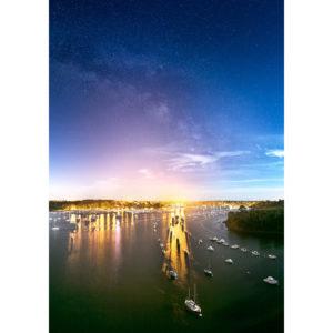 """Photo A4 à encadrer """"Bénodet : vue du pont de Cornouaille de nuit"""""""
