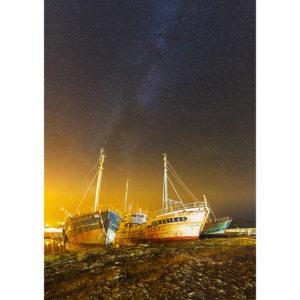 """Photo A4 à encadrer """"Camaret-sur-Mer : Voie lactée sur les bateaux"""""""