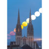 Quimper : Lever de Lune derrière Saint-Corentin