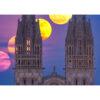 Quimper : Lever de Lune derrière les flèches de la cathédrale