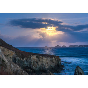 Morgat : Coucher de Lune sur les Tas de Pois
